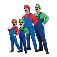Divertente cosplay costume super mario luigi brothers costume fancy dress up partito costume carino per adulti bambini kid spedizione gratuita