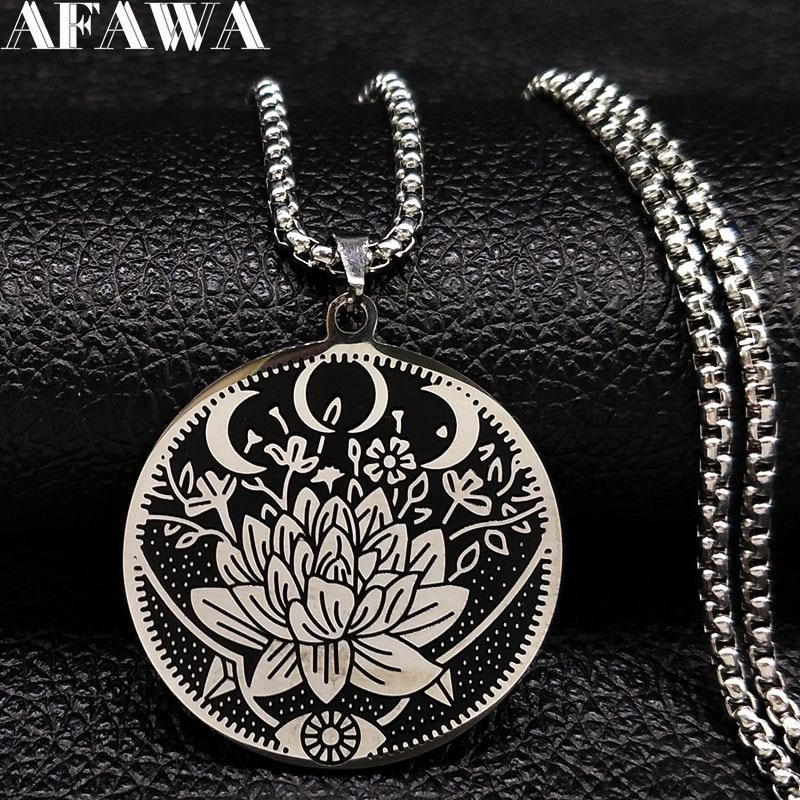 2018 Wicca Lotus En Acier Inoxydable Chaîne Collier Femmes Noir Argent Couleur Colliers Bijoux joyeria de acero inoxidable N18511