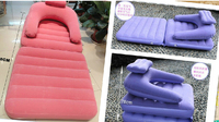 Support 150kg Purple Dual Purpose Flocking Inflatable Mattress One Seat Folding Sofa With Electric Air Pump