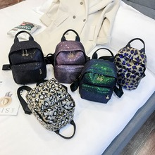 Women Sequins Backpacks Teenage Girls Small Capacity Travel Backbags Portable Party Mini School Bags Leather Backpacks