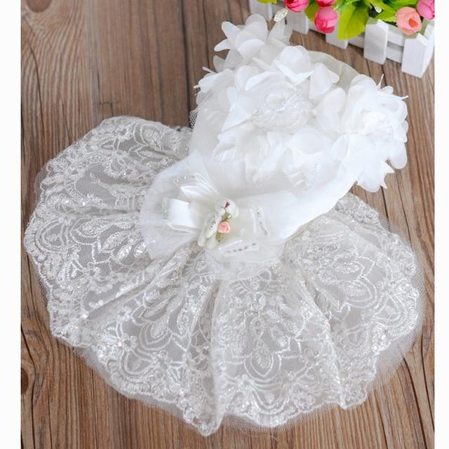 Summer Cute Bling White lace Dog puppy luxury dress pet cat Tutu ...