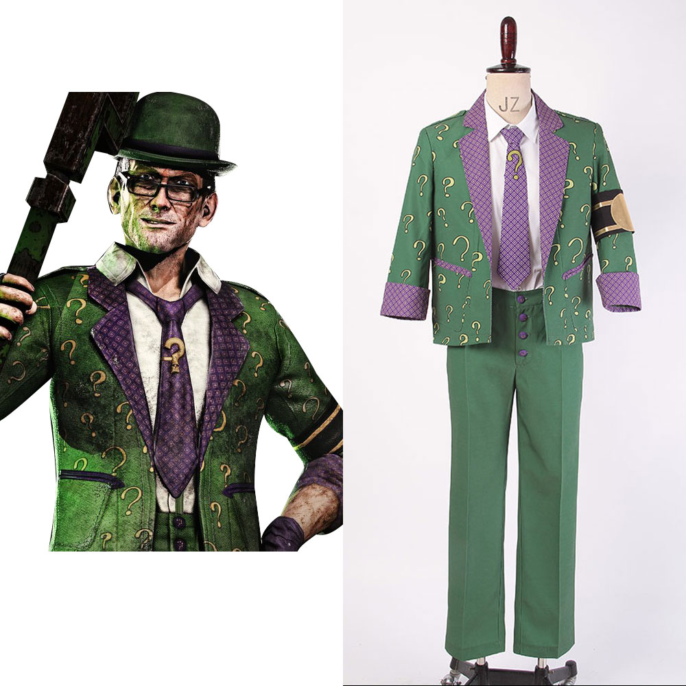 Batman: Arkham City The Riddler Dr.Edward Nigma Outfit Cosplay Costume Coat Gloves Pants Shirt Tie From Movie Halloween Party