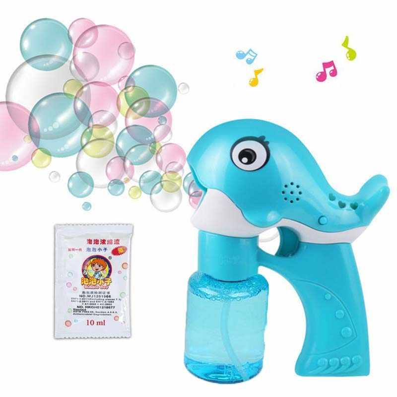 Открытый пистолет для мыльных пузырей, игрушка для воды, музыка, Детская летняя пляжная игрушка с пузырьками, автоматический ручной контроль ниже 14 лет, детские игрушки
