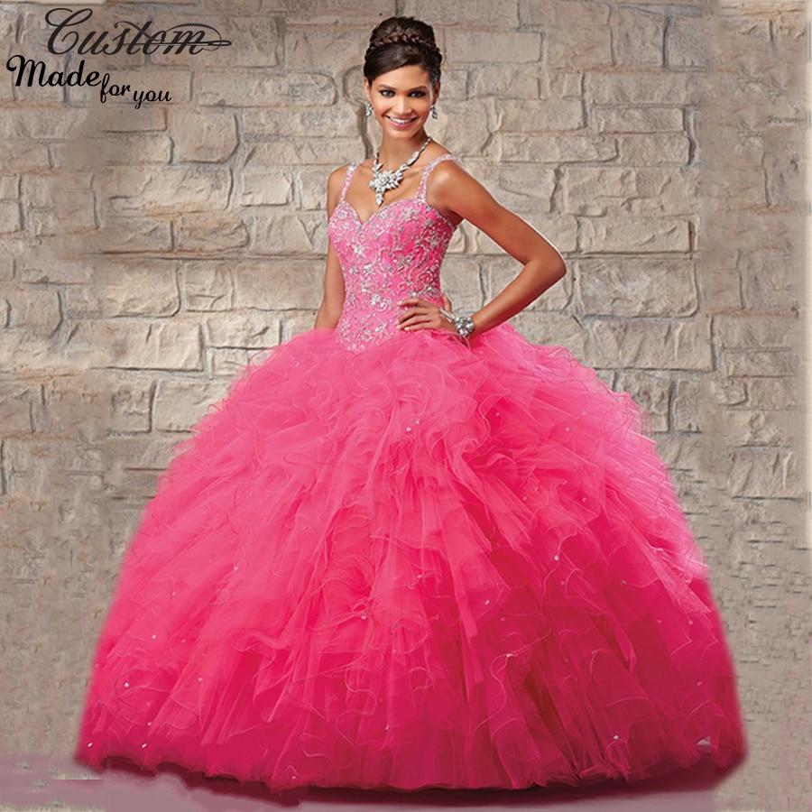 Aliexpress.com : Buy Hot Pink Quinceanera Dresses 2016 Ball Gowns ...