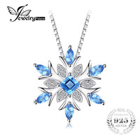 JewelryPalace Snowflake Genuine Swis Blue Topaz Solid 925 Sterling Silver Pendant Fine Jewelry For Women Not