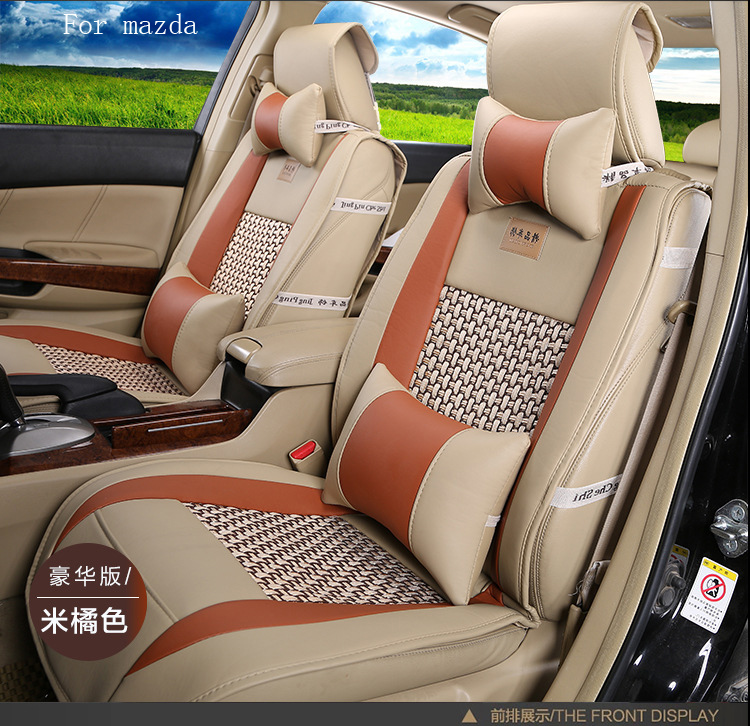 ФОТО OUZHI for  mazda 2 3 6 mazda cx-5 pu Leather weave Ventilate Front & Rear Complete car seat covers four seasons