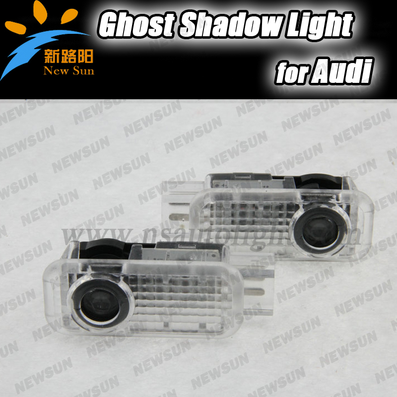 2Pcs LED car projector logo lights Ghost shadow light Door Welcome Light For Audi A8 A6L A3 A5 A6 A4L A4 A1 R8 TT Q7 Q5 A6L car door welcome laser projector logo door ghost shadow led light for vw volkswagen tiguan golf 5 6 7 passat b7 eos etc