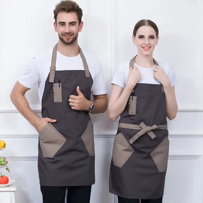 Canvas Denim Aprons Fashion Restaurant Bar Barber Working Clothes Net Cafe Floral Apron Custom Logo