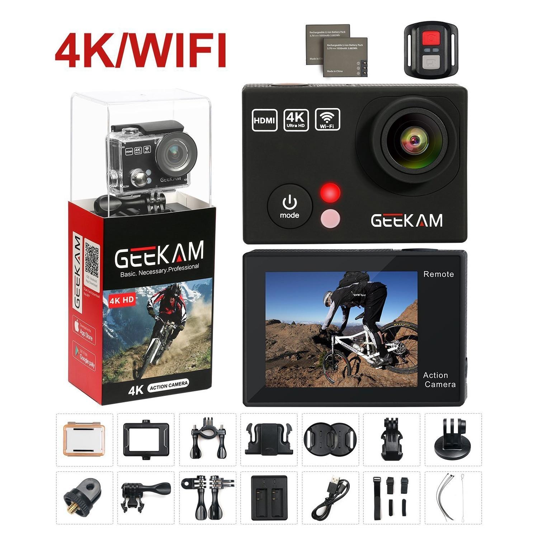 GEEKAM Sports Waterproof Camera 4K HD Camera WIFI Underwater Sports DV Digital Camera(Black) original yi m1 wifi 4k digital camera with standard lenses black