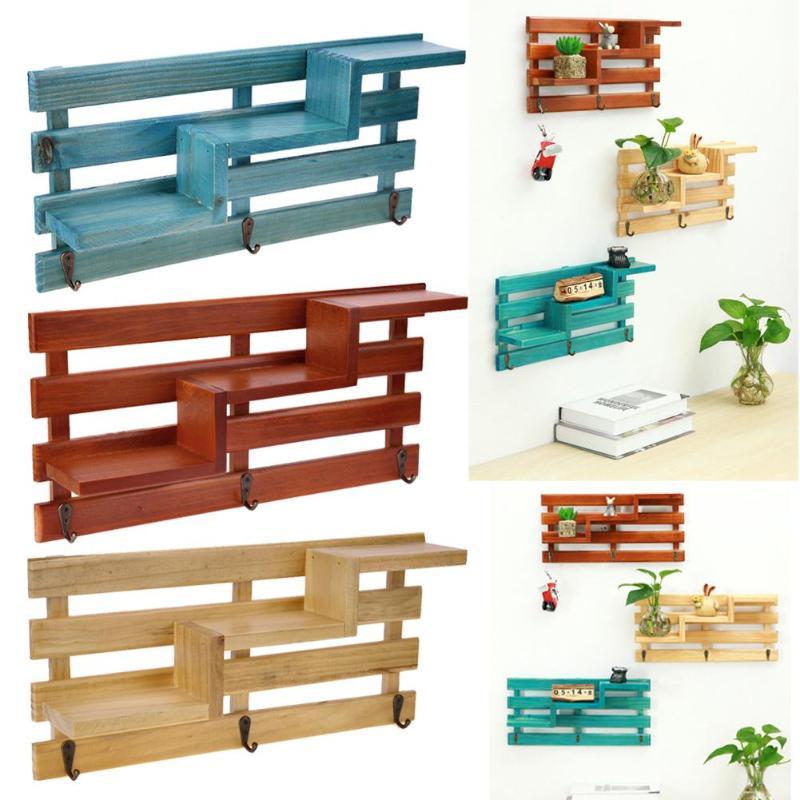 Retro Wall Mounted Wood Rack Shelf Holder Kitchen Bathroom Storage Rack Organizer Key Hanging Storage Holder Home Decoration