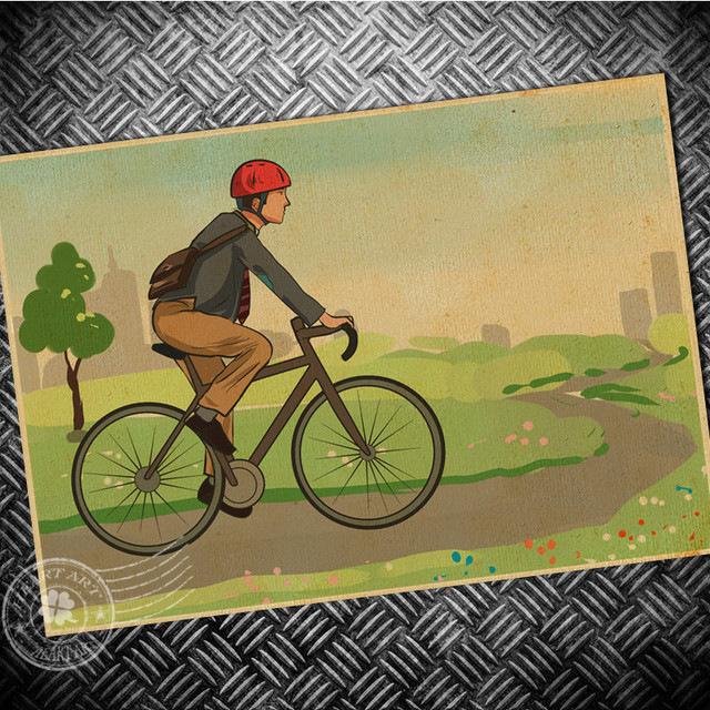 Vintage Bicycle Ride Bike Cartoon Poster Retro Wall Art Painting Bar ...