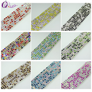 Hot sale crystal SS12 3mm 10yards/pack silver base close multicolor rhinestone chain for jewelry making diy beauty accessories
