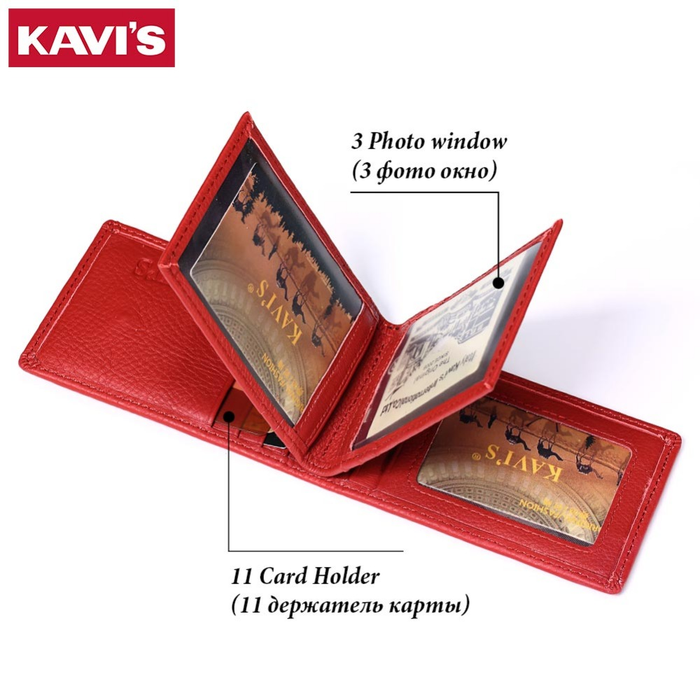 KAVIS Brand Genuine Leather Credit ID&Card Holder Small Wallet Female Women Purse Mini Walet And Portomonee Rfid Slim For Lady