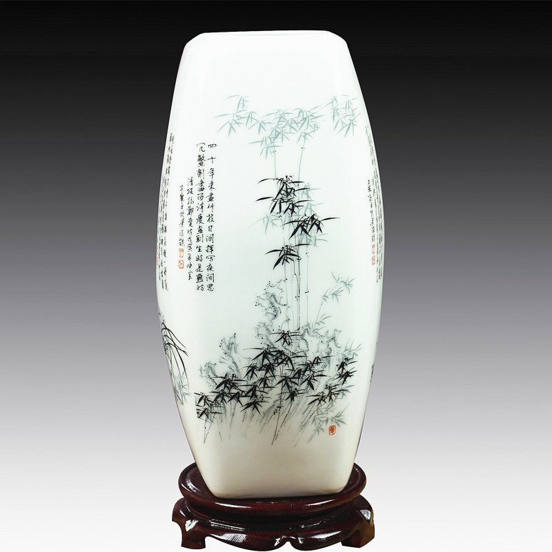 Jingdezhen Ceramic Vase Vintage Bamboo Flower Arrangement Modern Retro New Chinese Style Living Room Porcelain Decorations vase