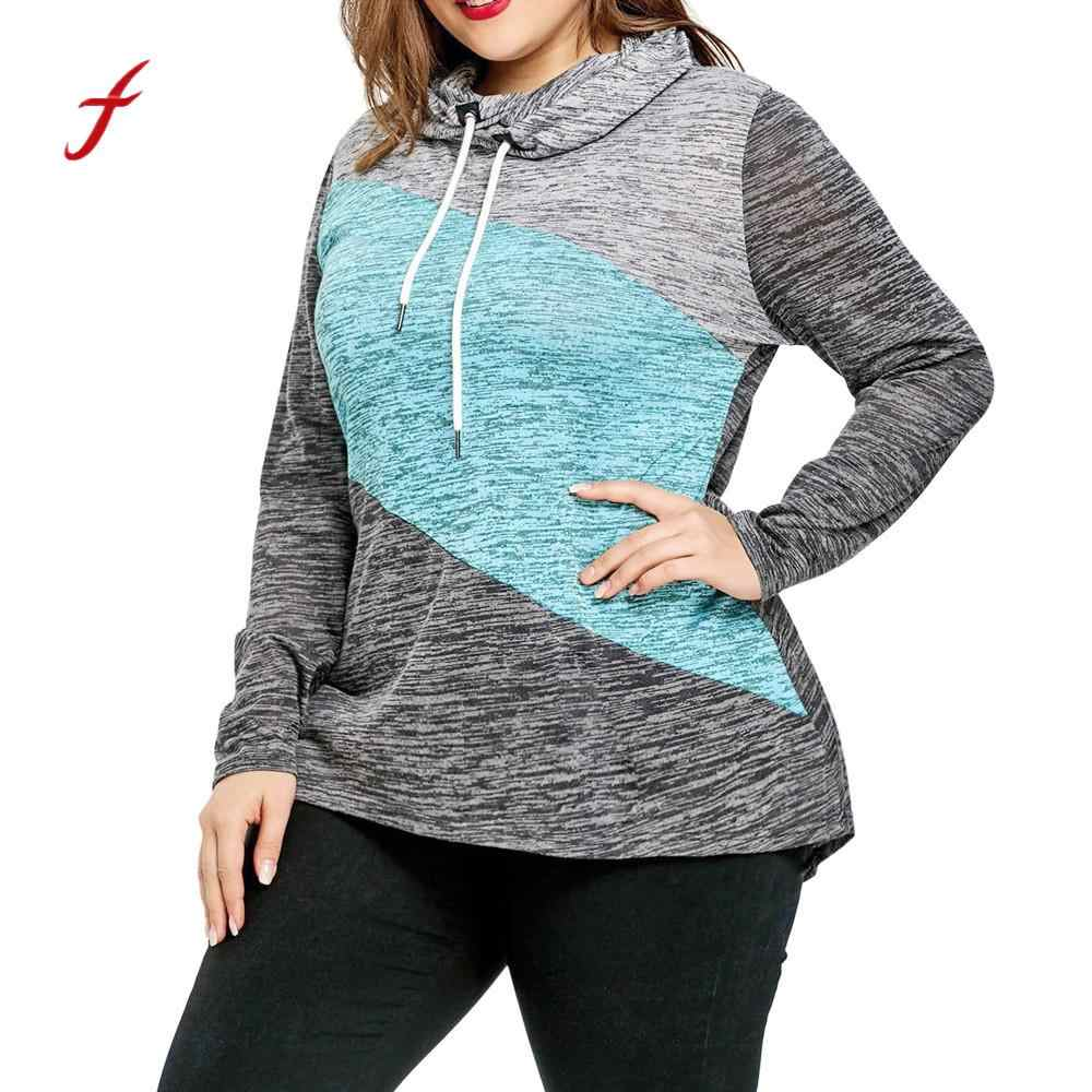 Autumn Women Hoodie Plus Size Long Sleeve 2018 vogue Vintag Patchwork Hooded Drawstring Sweatshirt Top dropshipping