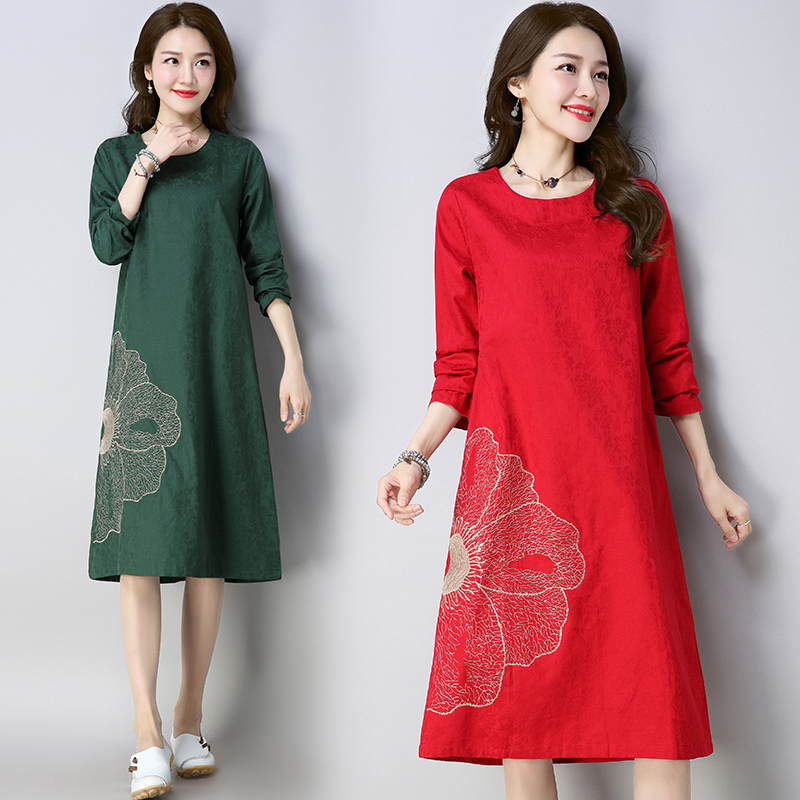 New Autumn and Winter Traditional Easy Long sleeves Cotton and Linen Woman National Wind Costume Printing Dress NY1881810