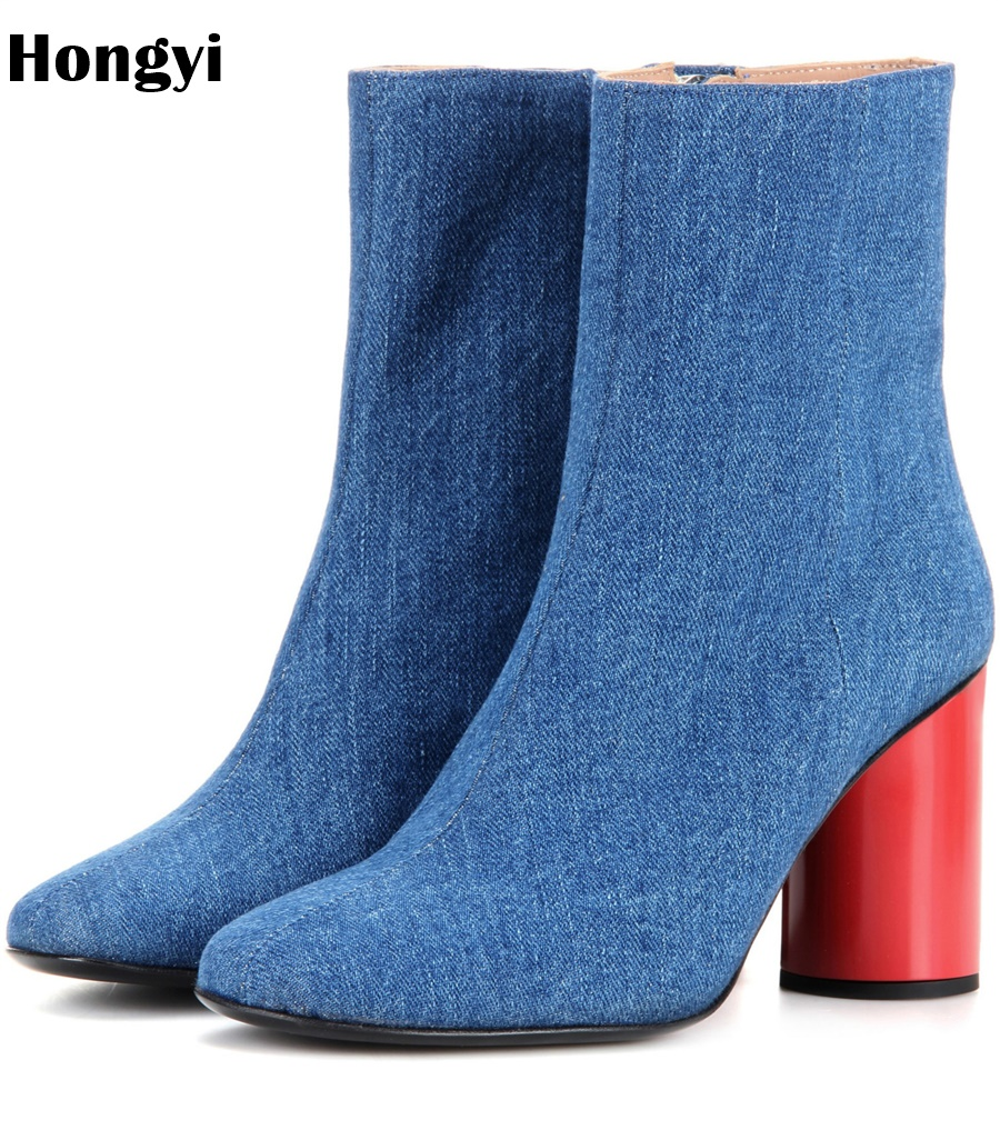 Hongyi 2018 Women Boots Flock Ankle Boots Round Toe Winter Women Boots Ladies Party Western Blue Denim Jeans Boots