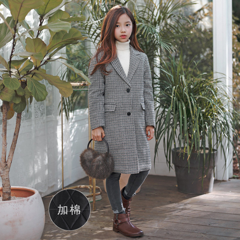 2018 New Toddler Autumn Jacket Girls Coat Toddler Coat Kids Plaid Coat Children Outwear Baby Long Style Coat Thickened,#3602 tartan plaid longline coat
