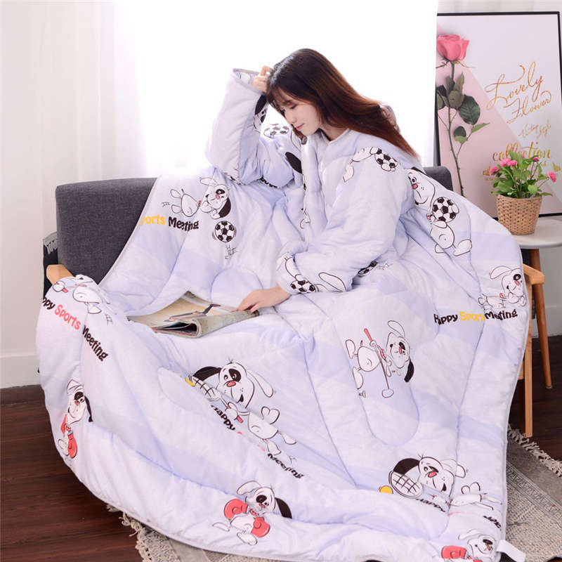 Winter Lazy Quilt With Sleeves Quilt Winter Warm Thickened Washed Quilt Blanket with sleeves blanket cape cloak warm 19jan29 cute winter lazy quilt with sleeves
