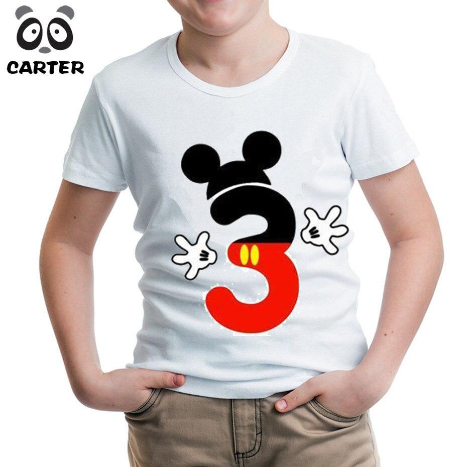 Ratón de dibujos animados Number Feliz cumpleaños camisetas para El Cabrito, niño y niña feliz cumpleaños 1th 2th 3th 4th 5th 6th 7th 8th 9th Tops