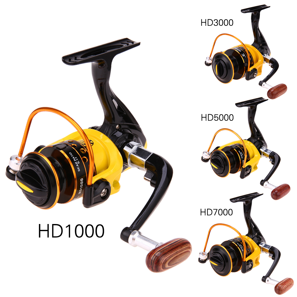 5.1:1/5.2:1 Fishing Reel Gear Ratio HD1000-7000 Model Spinning Reel Aluminum Spool Left Right Hand Exchange Fish Wheel Tackle