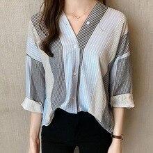 Women Striped V Neck Blouse Long Sleeve Shirt Female Loose Blusas Autumn Casual Ladies Office Blouses Top все цены