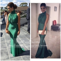 Simple High Neck Mermaid Prom Dresses Off The Shoulder Low Back Floor Length Stretch Satin Emerald