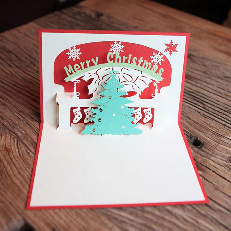 Merry christmas 3d pop up christmas tree greeting cards for gift merry christmas 3d pop up christmas tree greeting cards for gift collection congratulation card handcraft red in cards invitations from home garden on m4hsunfo