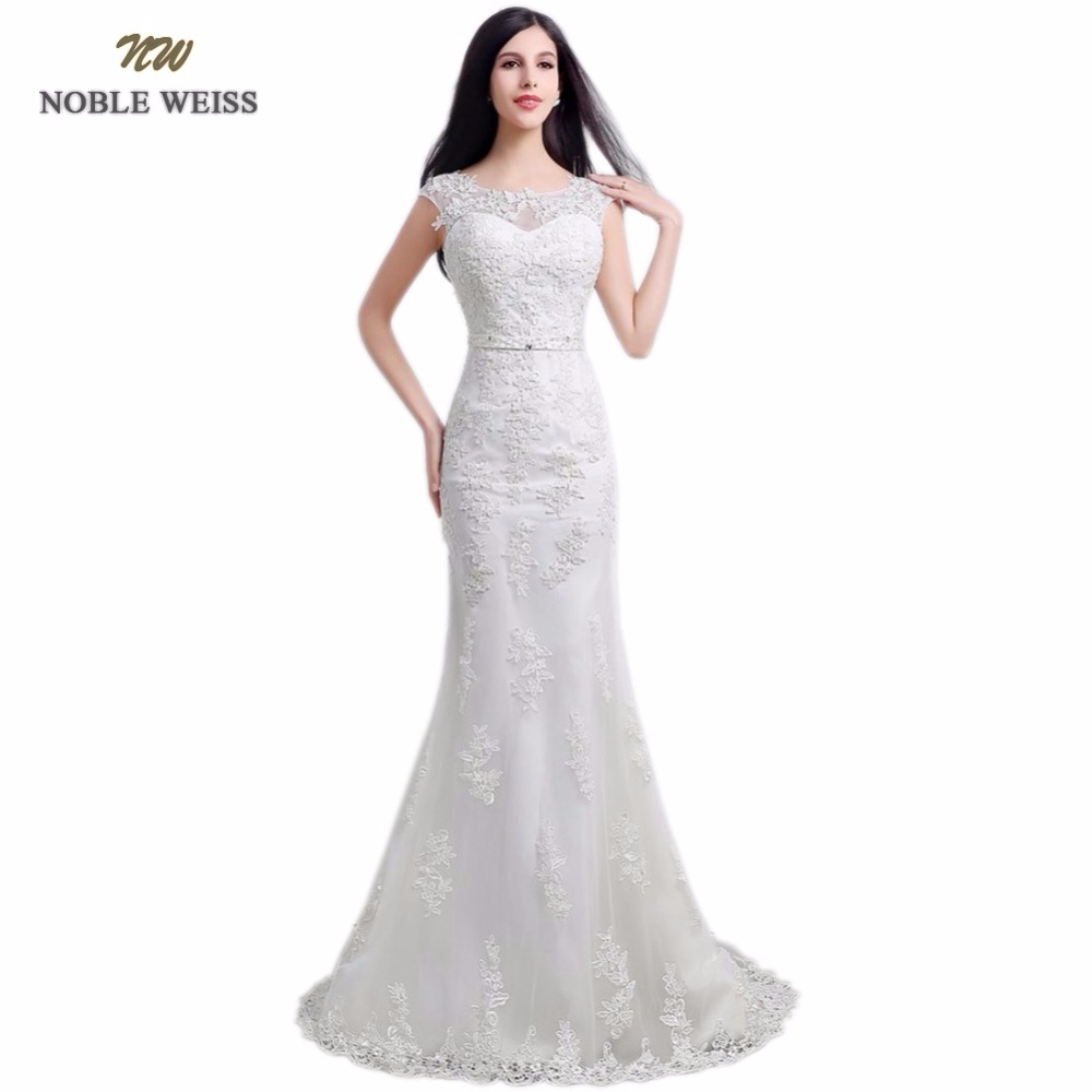 NOBLE WEISS In Stock O Neck Appliques Beading Zipper Back Mermaid Sweep Train Wedding Dresses Lace