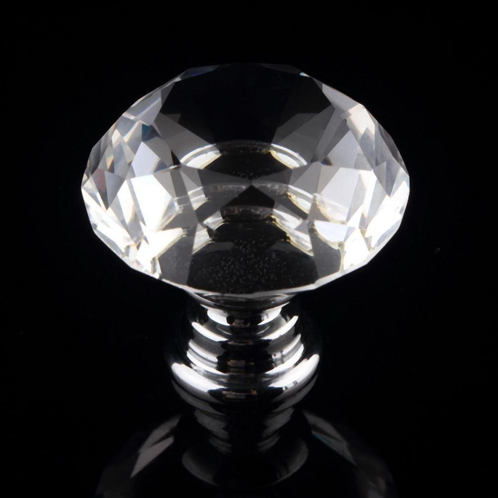 Hot 30mm Diamond Crystal Acrylic Door Drawer Cabinet screw Pull Handle Knob free shipping hot sale 10pcs k9 crystal handles flash diamond archaize shiny drawer twinkle door knob bathroom handle crystal