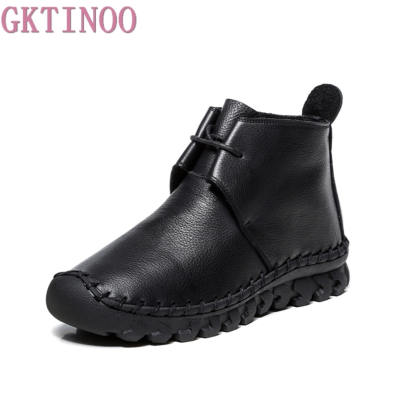 GKTINOO Women Ankle Boots Handmade 100% Genuine Leather Flat Woman Boots Spring Autumn Round Toe Lace Up Shoes Female Footwear maxmuxun women autumn winter rubber ankle boots lace up round toe flat heels classic black grey faux suede shoes female footwear