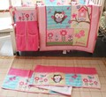 Printing embroidery Owl Bird Pink cotton bedding include Quilt Bumper bed Skirt Fitted Urine bag 8pcs baby bedding set Baby