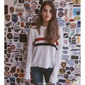 Brandy Melville Style 2017 Autumn Winter Chest Double Stripe Loose Round Neck Pullover Sweater Women Pull Femme