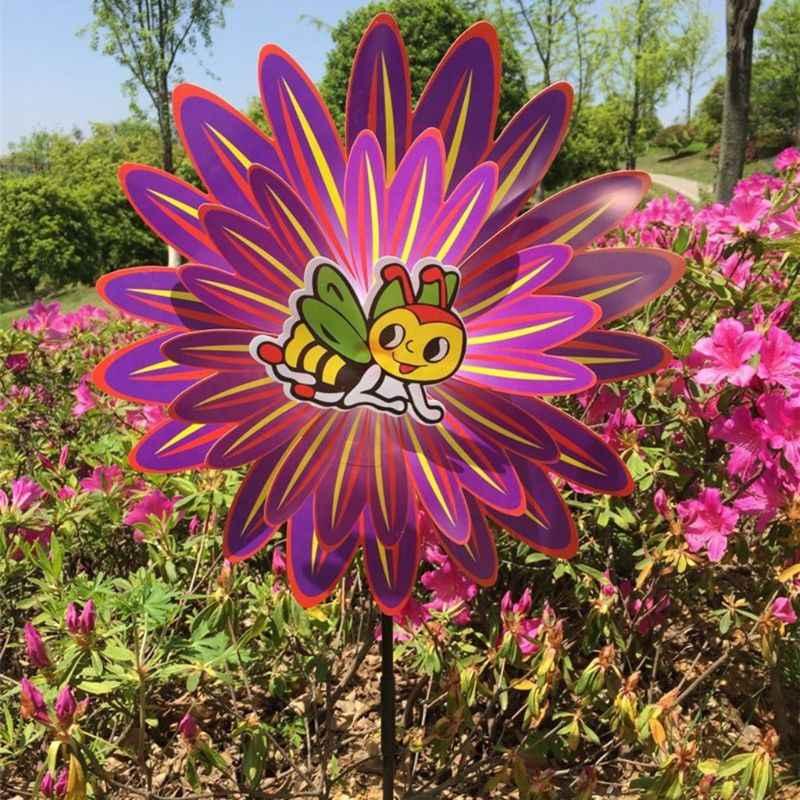 Двухслойные ветровые игрушки в виде ветряной мельницы красочные вращения цветок Pinwheel садовое Украшение мультфильм милые насекомые уличные Вечерние