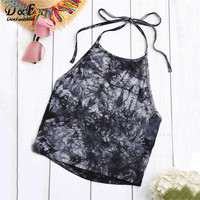 Dotfashion Tie Dye Cami Top Women Navy Vintage Boho Printed Sleeveless Sexy Halter Summer Tops 2017 Fashion Beach Camisole