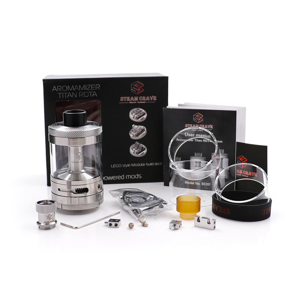 Steam Crave Aromamizer Titan RDTA 28ml capacity 41mm diameter huge rebuildable tank innovative LEGO style Modular build deck