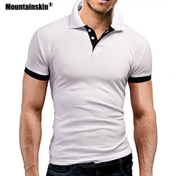 Mountainskin Men's Tops Summer New Tee Shirt Slim Fit Fashion Clothing Short Sleeve Stand Collar Tees Male Shirts SA682