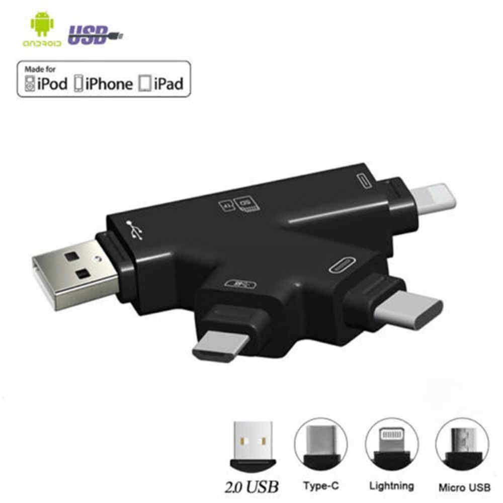 ใหม่ 4 in 1 Micro SD และ TF Card Reader USB C ประเภท C อะแดปเตอร์ OTG Card Reader สำหรับ iPhone XS max/XS/X/7 8 PLUS Android โทรศัพท์ MAC PC