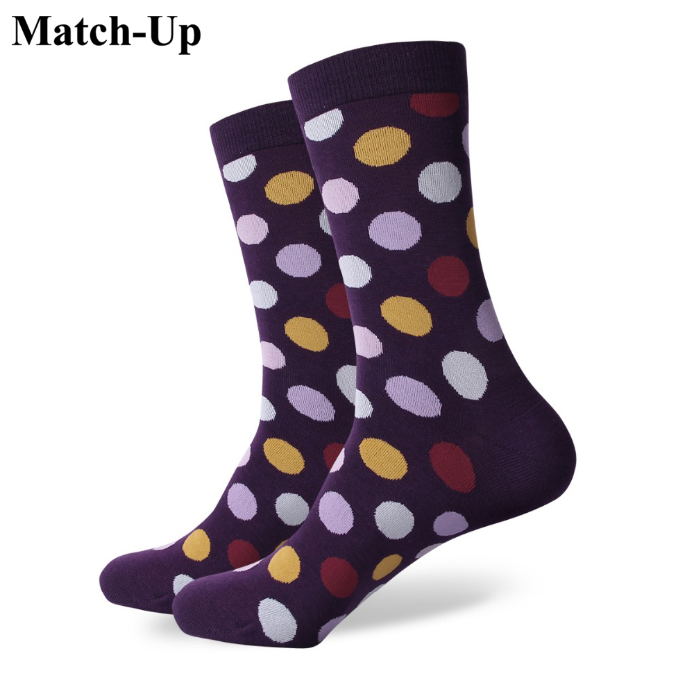 Match-Up colorful dot  mens combed cotton socks brand man dress knit socks Wedding Gifts Free shipping US size(7.5-12)