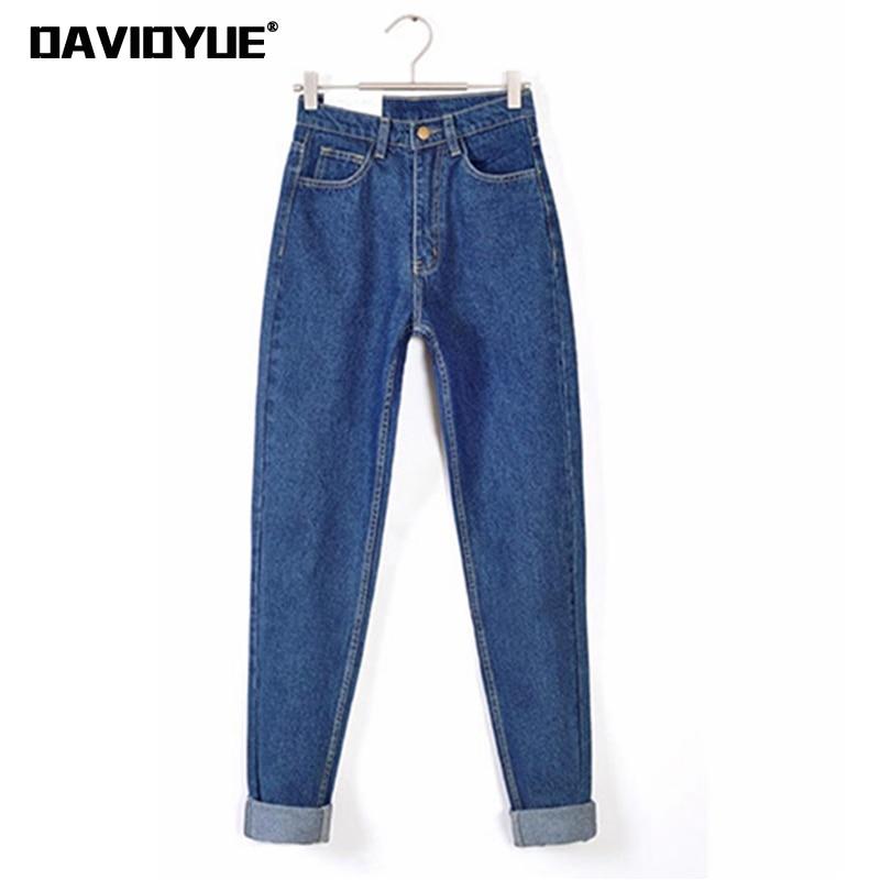 Vintage high waist jeans woman 2018 Autu