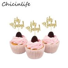 Chicinlife, 10 шт., золотистый Топпер для детского кекса на первый день рождения, вечеринку в честь рождения ребенка, сувениры, подарки, товары для декора