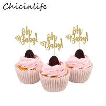 Chicinlife 10Pcs Gold Oh Baby Cupcake Topper Baby First Birthday Baby Shower Party Favors Gifts Gender Reveal Decor Supplies