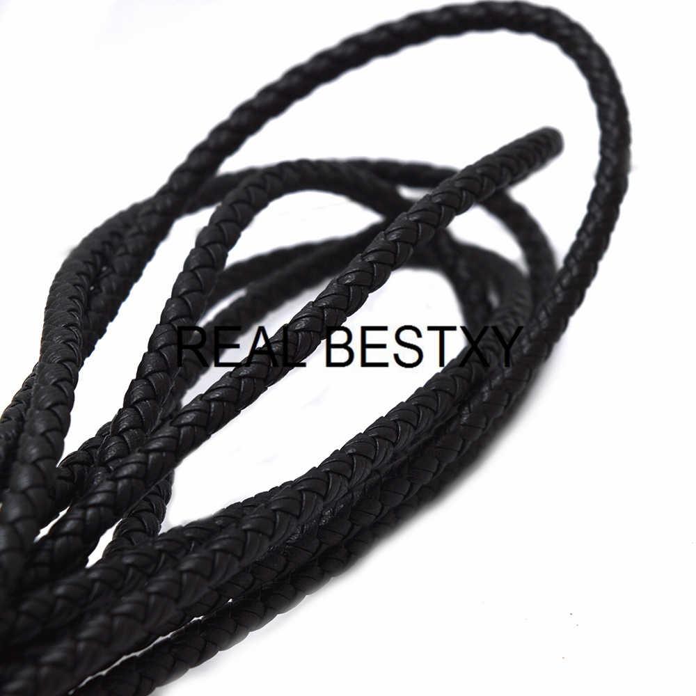 REALE BESTXY 5 MM/6 MILLIMETRI Intrecciato Cavo di Cuoio della Corda per la Collana Dei Monili Del Braccialetto FAI DA TE nero cavi di cuoio per braccialetti FAI DA TE fare