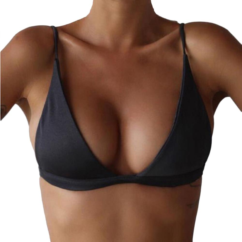 Women Summer Solid Bikini Tops Deep V Neck Backless Skinny Wire-Free Bra YS-BUY 5