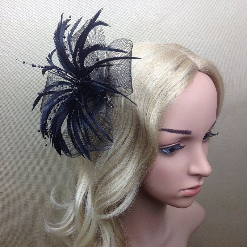 Costume Ball Women Colorful Bead Feather Fascinator Headpiece Headband Clips women s hats and fascinators vintage sinamay sagittate feather fascinator with headband tocados sombreros bodas free shipping