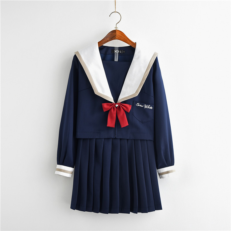 2018New Design School Party Uniform JK Japanese School For Cosplay Girls Suit Student Uniform Tie Sailor Suit Set Table Costume