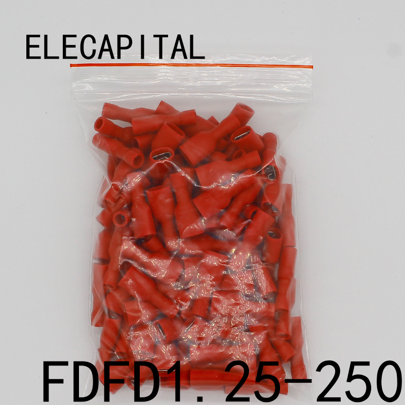 FDFD1-250 FDFD1.25-250 insulating Female Insulated Electrical Crimp Terminal Connectors Cable Wire Connector 100PCS/Pack FDFD e1508 tube insulating insulated terminals 1 5mm2 100pcs pack cable wire connector insulating crimp terminal connector e