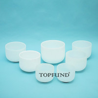 Chakra Tuned Set Of 7 Frosted Crystal Singing Bowls 8 10