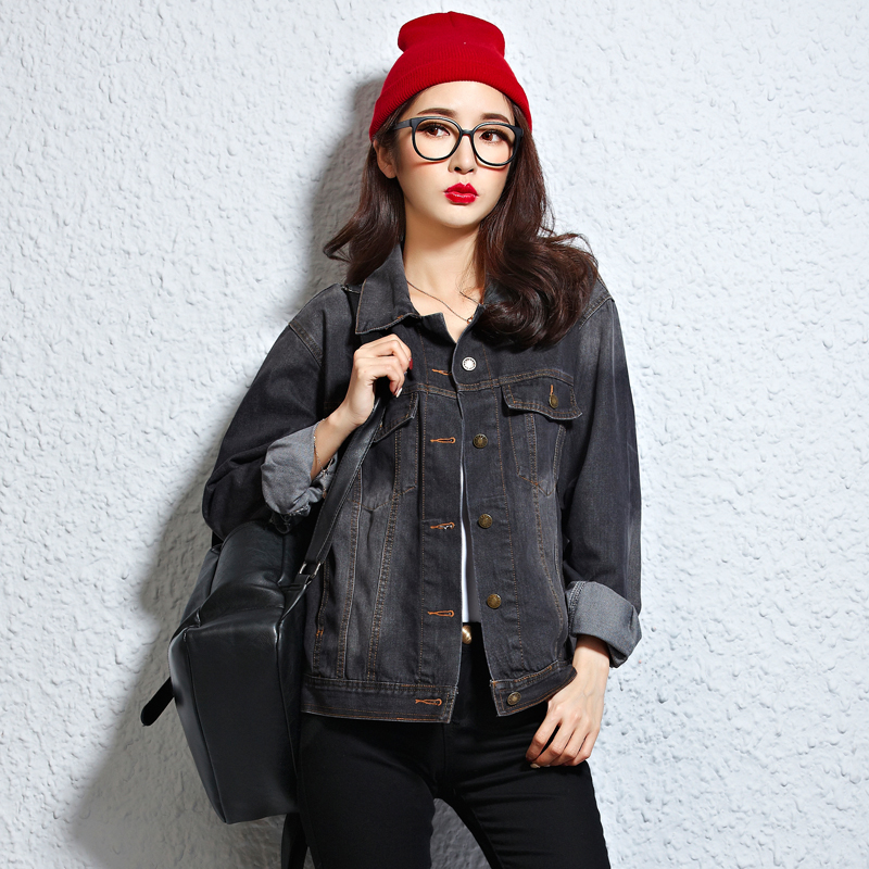 Aliexpress.com : Buy Retro Loose Black Denim Jacket Women Bomber ...