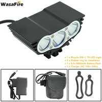 WasaFire 새로운 3 * XM-L U2 5000lm 자전거 자전거 라이트 전면 플래시 라이트 충전식 배터리 팩 자전거 헤드 라이트 헤드 램프